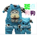 Костюмчик AliExpress Spotted dog baby children's clothing boy girls sport suits 4 color Black blue red yellow Free Shipping M0147 фото