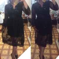 Платье Aliexpress Fashion Womens Double Layer Long Sleeve Sequins Glittery Deep-V Collar Dress F12 фото