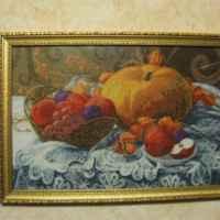 из вышитого - фрукты и тыква