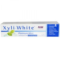 Зубная паста Now Foods Solutions, Xyli-White, Toothpaste Gel with Baking Soda, Fluoride-Free, Platinum Mint фото