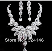 Комплект бижутерии Aliexpress  crystal bridal jewelry silver necklace+earrings cheap jewelry nice wedding accessory фото