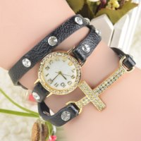 Часы женские Aliexpress New Listing Korean Fashion Simple Cross Inlaid Rhinestones Long Leather Quartz Watches  фото