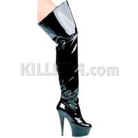 Ботфорты Ellie Shoes Черные лакированные на шпильке 17 см и платформе  фото