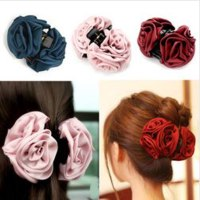 Заколка для волос Aliexpress Tnall hair accessory rose fabric big gripper hair maker acrylic hair accessory clip фото