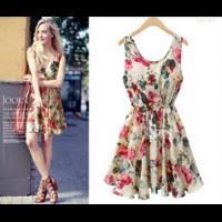 Платье AliExpress 2015 European style plus size Fashion party Vest dress sexy Flower prints Slim Mini Dress Spring winter women dresses WC0375 фото