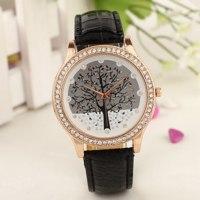 Часы женские Aliexpress Women Tree Dial Rhinestone Inlaid Golden Tone Case Faux Leather Band Wrist Watch фото
