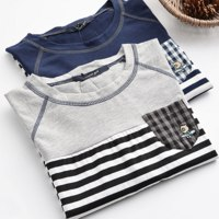 Футболка AliExpress B&Y Just be yourself preppy style striped hem letter casual O-neck cotoon top short sleeve T-Shirt mori girl фото