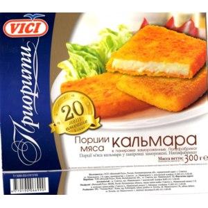 Полуфабрикат замороженный Vici Порции мяса кальмара в панировке замороженные фото
