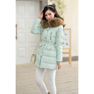 Пуховик / куртка AliExpress winter jacket women slim real fur collar thickening coat hooded medium-long duck down parka plus size outwear casual overcoat фото