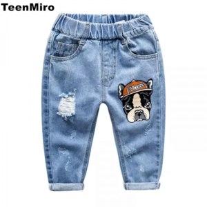 Джинсы AliExpress 2018 Spring Summer Children Broken Hole Pants Kids Jeans for Boys Girls Baby Denim Trousers 2-7Y Toddler Boy Sport Pant Dog Duck фото