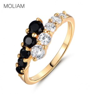 Кольцо Aliexpress MOLIAM Fashion Classic Rings for Women Gold-Color White & Black Crystals CZ Engagement Love Ring Jewellery MLR110 фото