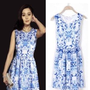 Платье AliExpress Summer women's fashion <b>blue and white</b> ...