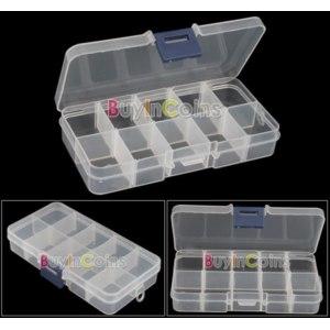 Органайзер Buyincoins Пустой чемодан Empty Storage Case Box 10 Cells for Nail Art Tips Gems фото