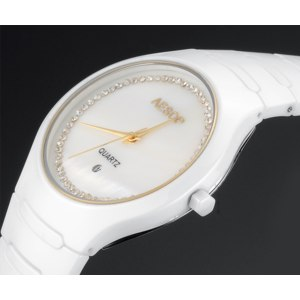 Женские часы AliExpress Aesop белые керамические часы со стразами фото
