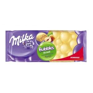Белый шоколад  Milka milka bubbles пористый с фундуком фото