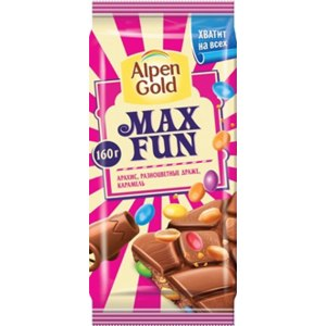 """Шоколад Alpen Gold Max Fun """"Арахис, разноцветные драже, карамель"""" фото"""