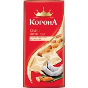 Белый шоколад Корона с целым миндалем и кокосом фото