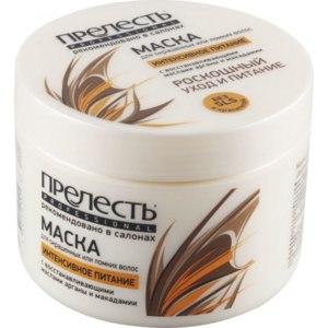 Маска для волос Прелесть Professional ИНТЕНСИВНОЕ ПИТАНИЕ с восстанавливающими маслами арганы и макадамии для окрашенных или ломких волос. фото