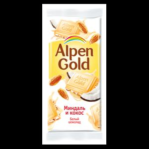 Белый шоколад Alpen Gold с миндалём и кокосовой стружкой фото