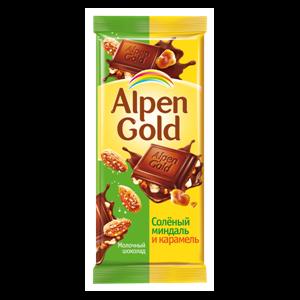 """Молочный шоколад Alpen Gold """"Солёный миндаль и карамель"""" фото"""