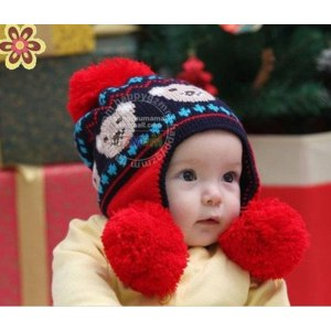 Шапка AliExpress 2012 New Style Baby Hat Animal Design Children Knitted Caps 2 Big Balls Winter Cap Toddler's Headwear 3 Colors  фото