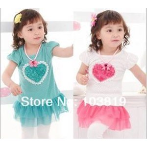 Туника AliExpress  hot sell baby dresses cute girl loving heart lace princess dress children clothing Wholesale And Retail  фото