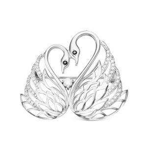 Брошь ЮПК «Серебро России» из серебра с фианитами родированная - Лебеди, артикул: Бр-077р200  фото