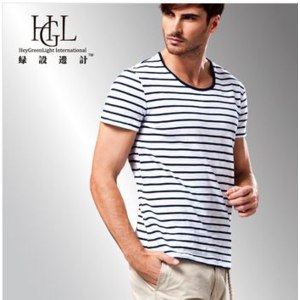 Футболка AliExpress 100%cotton Spring and summer casual O-neck men's T-shirt short-sleeved Slim striped T-shirt Free shipping TS96 фото