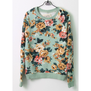 Кофта AliExpress Harbeth Exclusive !Limited Units ! 2014 New spring women's overall floral printed basic cotton french terry pullover sweatshirt фото