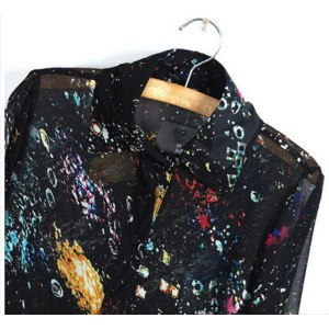 Блуза AliExpress Fashion Women Lady Long Sleeve Vintage Starlight Floral Perspective Shirt Blouse фото