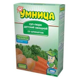 Суп-пюре Умница детский овощной со шпинатом фото