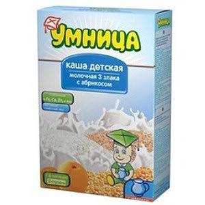 Каша Умница молочная из трех злаков с абрикосом фото