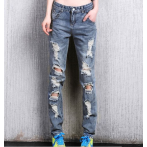 Джинсы AliExpress Women's loose plus large size ripped jeans Lady's boyfriend jeans for women Female casual hole denim pants Free shipping фото