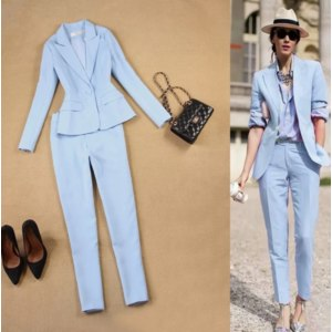 Брючный костюм AliExpress Set women's spring and autumn new female professional blazer Slim simple light blue suit and  pants feet pants two sets фото
