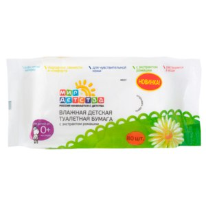 Влажная детская туалетная бумага Мир детства с экстрактом ромашки фото
