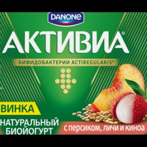 Биойогурт Danone Активиа с персиком, личи и киноа фото