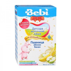 Каша Bebi  Premium молочная. Пшеница яблоко банан фото