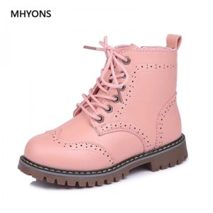 Ботинки демисезонные Aliexpress MHYONS 2018 Girls Martin Boots Shoes For Girls Children Warm Boots Fashion Soft Bottom Boys Girls Boots Non-slip Kids Sneakers фото