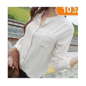 Блузка AliExpress Women long-sleeved white chiffon blouse collar long shirt two pockets casual plus loose size chiffon blouse tops shirt фото