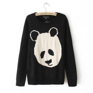 Свитер AliExpress New 2013 sweater women pullover sweaters 2013 women fashion Women O-neck Panda Sweater Knitted Wear Knitting Pullovers фото