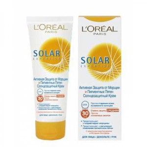 Солнцезащитный крем L'Oreal Paris для лица, декольте и рук SOLAR EXPERTISE Anti-Rides & Anti-Taches Solaires SPF/ UVB 30 фото