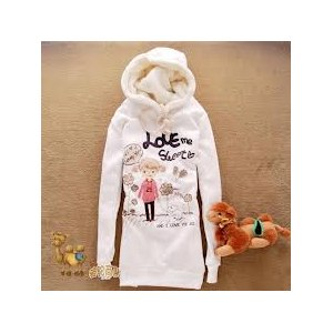 Толстовка AliExpress Lovely Letter Cartoon Girl Dog Hooded Long Sleeve Fleece Coat White с девочкой фото