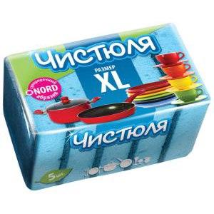 Губки для мытья посуды  Чистюля XL 5 шт фото