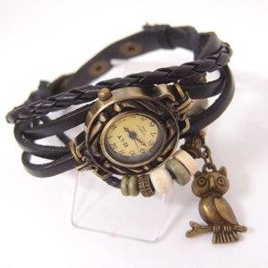 Часы Aliexpress Owl Pendant Women Wholesale fashion Genuine Cow leather band quartz watch,Vintage wrist watches Ladies фото
