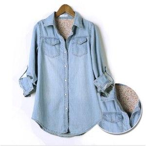 Джинсовая рубашка AliExpress New Arrival 2014 Spring Autumn Medium-long Thin Denim Shirt women Plus Size Denim Long Sleeve Blouse Size 6 фото