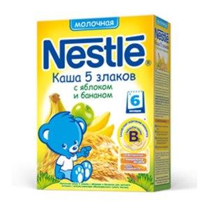 Каша Nestle Молочная 5 злаков с яблоком и бананом. С бифидобактериями. фото