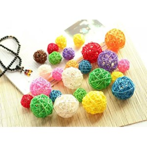 Шары из ротанга Aliexpress Mixed 3cm/4cm/5cm 25PCS Round Shape Rattan Ball Sepak Takraw for Christmas Birthday Party & Home Wedding Party Decoration фото