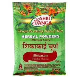 Травяной порошок Shri Ganga Шикакаи чурна (Shikakai churna) фото