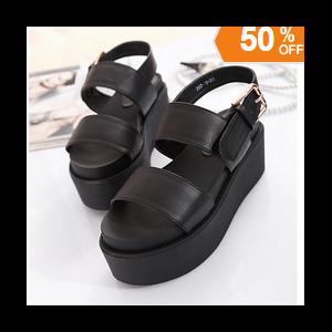 53619e9a7 Босоножки Aliexpress 2015 new summer women's sandals black platform wedges  thick high-heeled sandals belt buckle open-toed shoes large size Eur35-42 -  ...