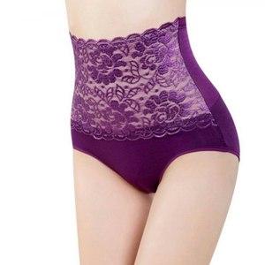 Женские трусики с завышенной талией Aliexpress Women's Floral Lace Body Shaper Hip Tummy Belly Office Panties High Waist Sexy Lace Floral Intimates Panties Lingerie фото